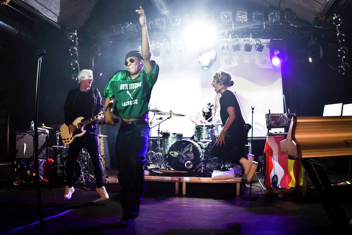 Robbie Chater, Spank Rock and Eliza Wolfgramm of the Australian band The Avalanches perform live on stage during a concert at the Festsaal Kreuzberg on June 28, 2017 in Berlin, Germany.