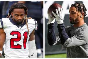 Texans cornerback Bradley Roby (left) and receiver Will Fuller are suspended for the rest of the 2020 season after violating the NFL's policy against performance-enhancing drugs.