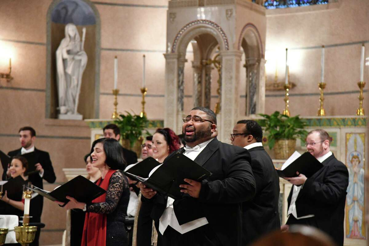 The Houston Chamber Choir performs in December 2019 at the Villa de Matel in Houston. The Grammy award-winning choir is set to share its digital Christmas concert, A Time to Bring Hope, on Sunday, Dec. 20.
