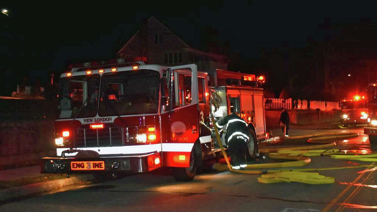 Units on scene for a fire at a New London, Conn., home on Nov. 18, 2020.