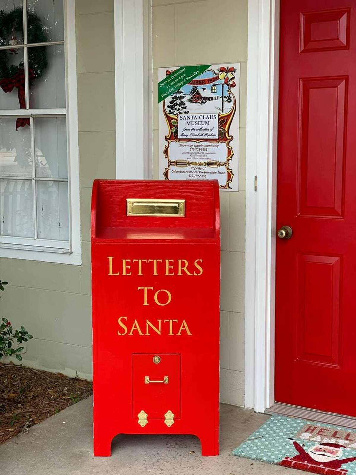 Letters to Santa mailbox on the porch of the museum.