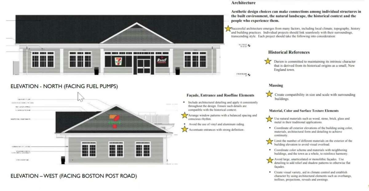 An earlier rendition of the proposed 7-Eleven in Darien - the Planning & Zoning Commission unanimously denied the application on Tuesday night.