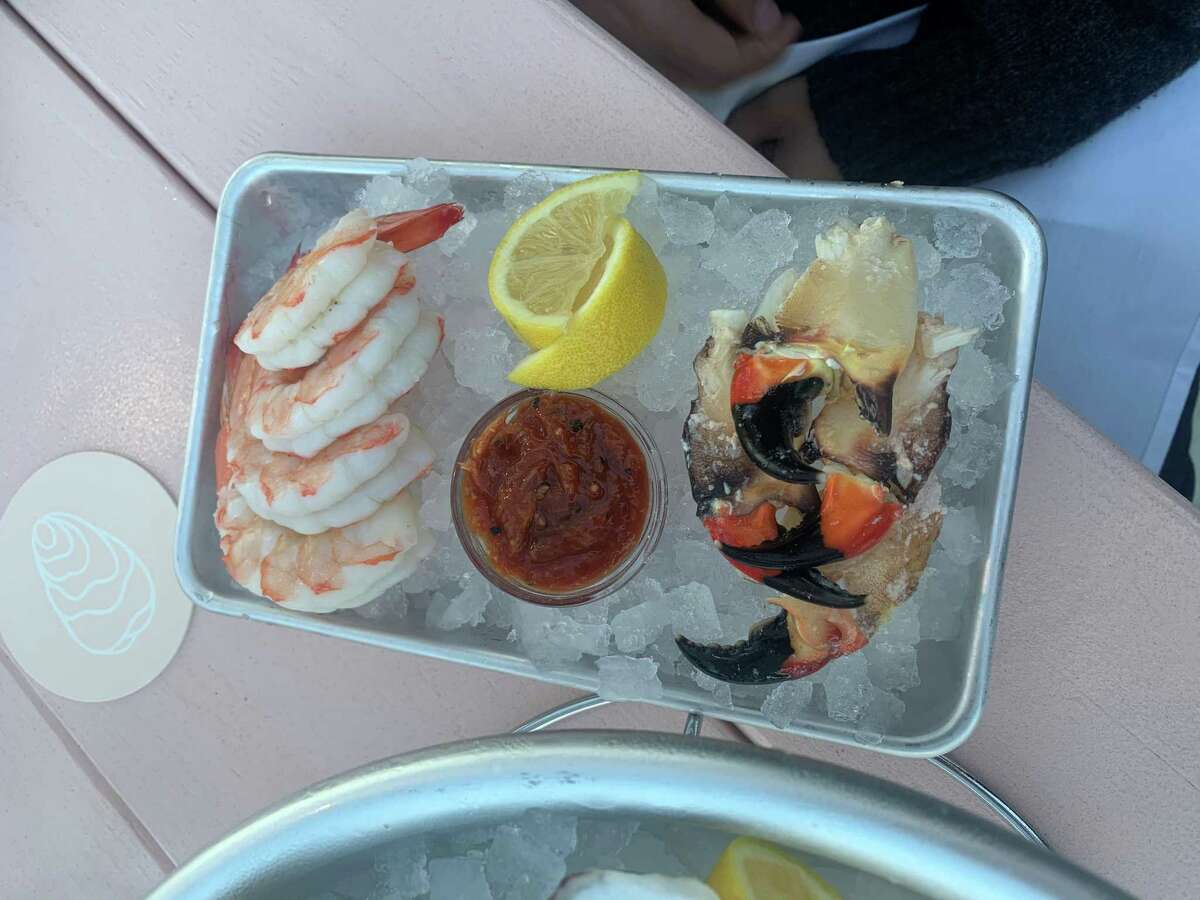 A plate of shrimp and crab claws at Little Em's Oyster Bar