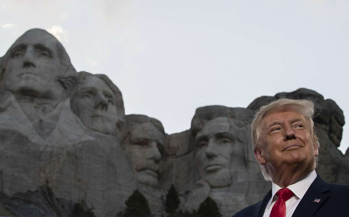 President Trump smiles during a visit to Mount Rushmore National Memorial near Keystone, S.D., on July 3.