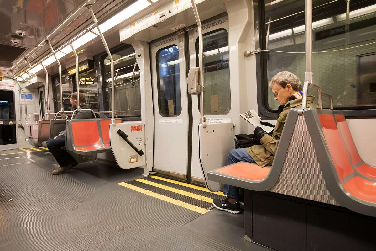 Traffic on the San Francisco MUNI subway was unusually light during rush hour in San Francisco, Calif. on March 10, 2020. The numbers of commuters on mass transit has dropped noticeably because of the coronavirus, which has triggered a budget deficit for the transit agency.