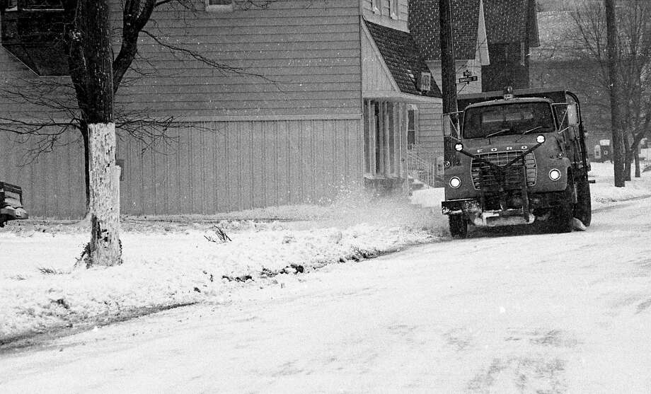 "From the front page of the News Advocate on this day in 1980, ""City snowplows were out in full force as blizzard-like conditions blanketed the area with fresh snow and high winds."" (Manistee County Historical Museum photo)"