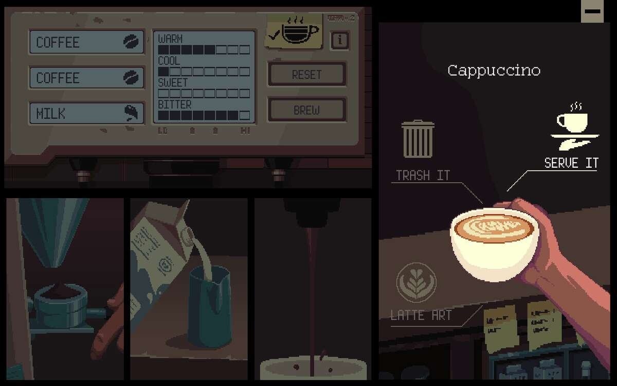 Most coffee drinks can be created in the game by mixing three ingredients together.