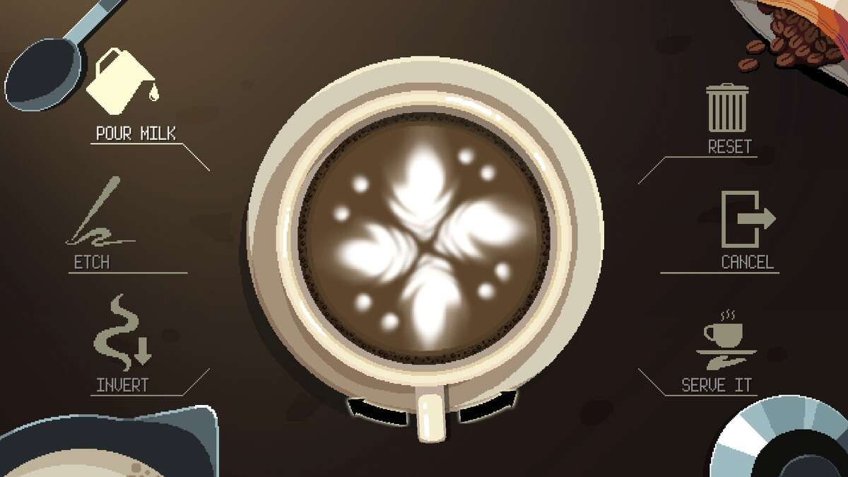 In the game, you can craft your own latte art design before giving the drink to a customer.