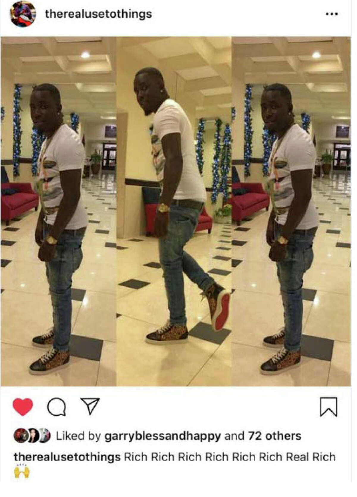 Instagram post showing Orlando Dennis are described in court records as capturing the defendants lifestyle and expensive attire. According to court records, the defendant is depicted lifting his foot to display the signature red sole commonly associated with luxury shoe designer Christian Louboutin. (U.S. Justice Department evidence)