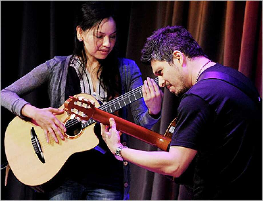 Gabriela Quintero and Rodrigo Sanchez perform at the Grammy Museum on March 23 in Los Angeles.