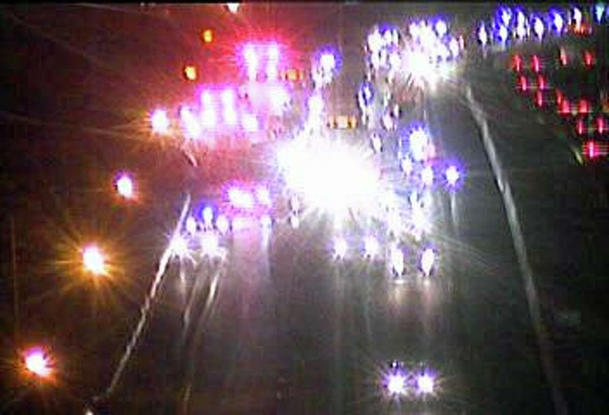 A two-vehicle accident has closed two lanes of northbound I-95 north in Darien on Tuesday, Dec. 1, 2020.