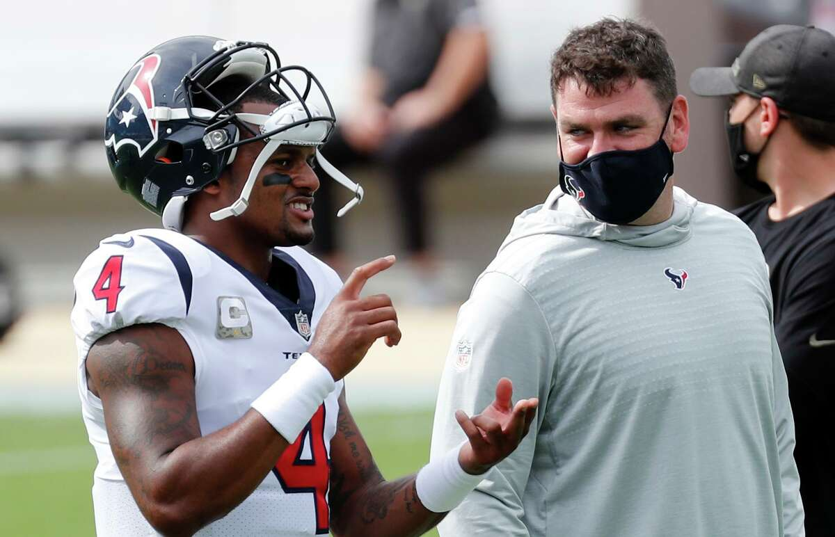 Texans quarterback Deshaun Watson (4) says that over the last two seasons, offensive coordinator Tim Kelly helped him take his game to the next level.