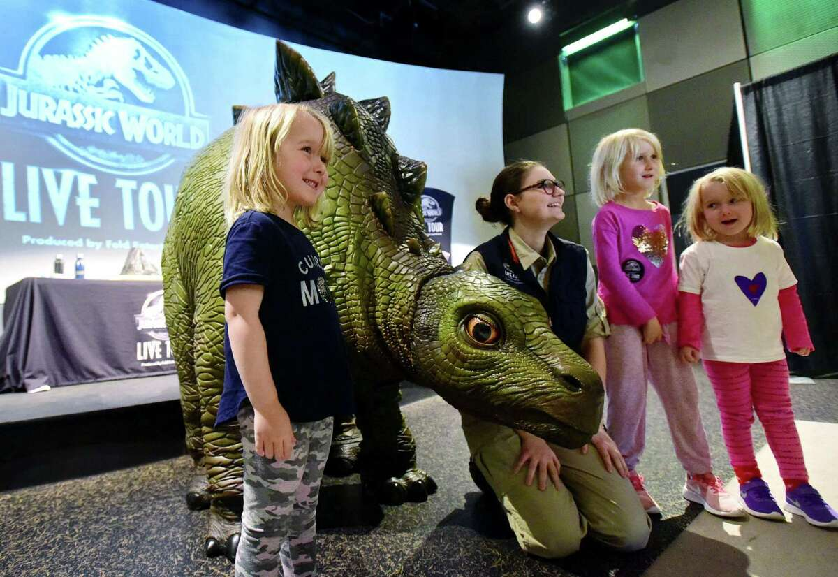 Feld Entertainment presents Juraissic World Live Tour event featuring Olive the animatronic baby Stegasaurus Friday, February 14, 2020, at Stepping Stones Museum for Children in Norwalk, Conn.