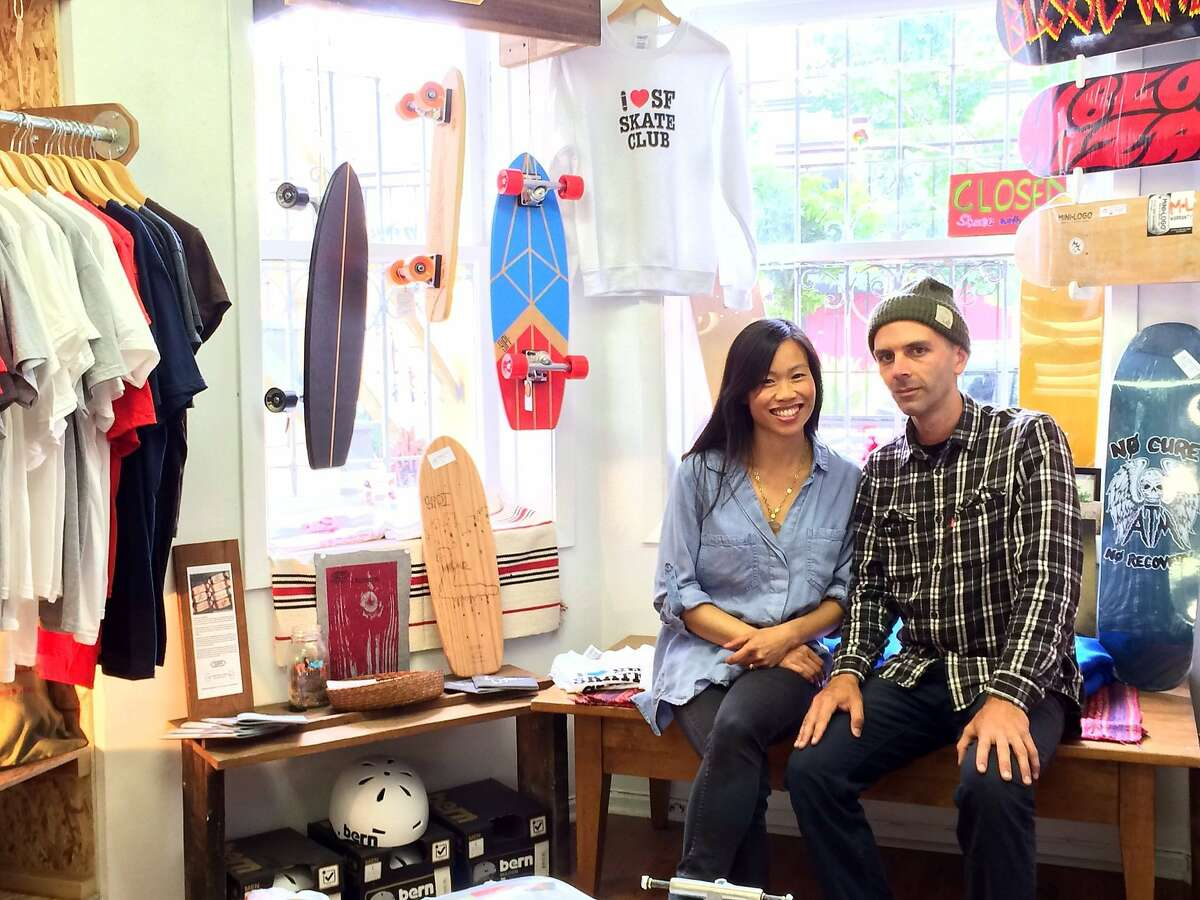 Thuy Nguyen and husband, Shawn Connolly, at the San Francisco Skate Club.
