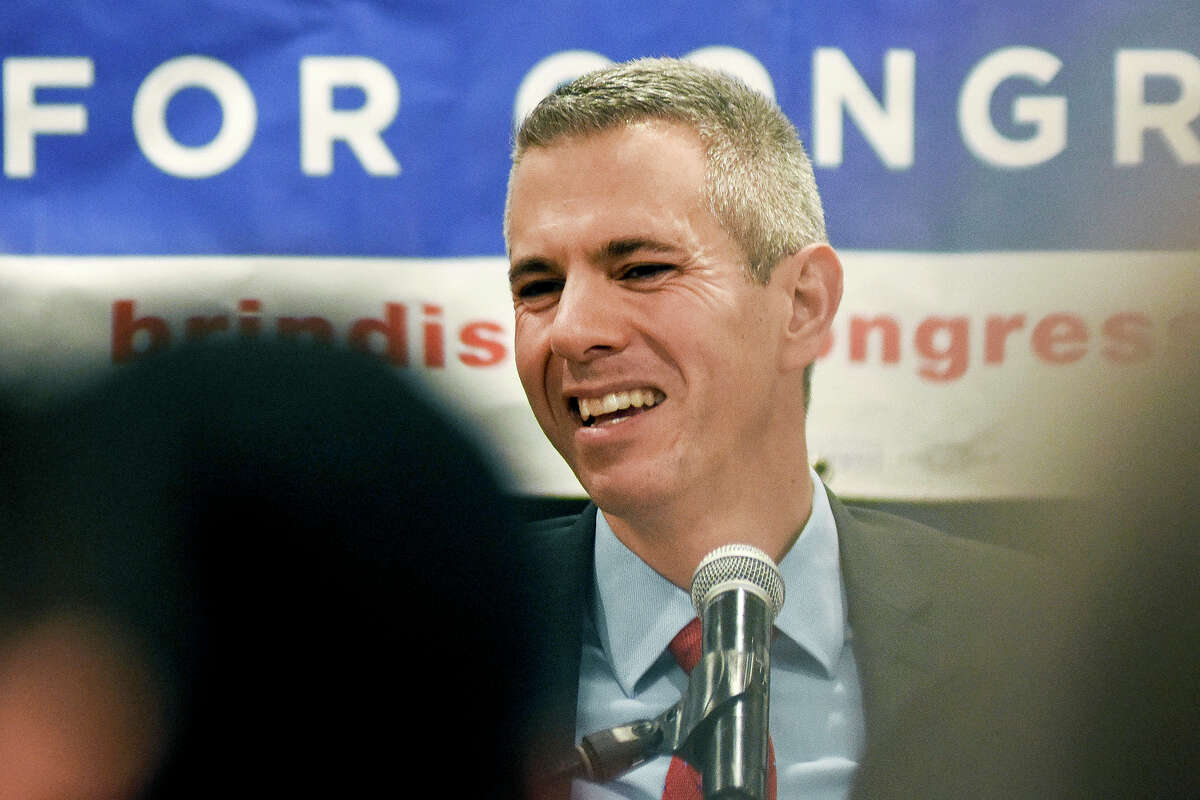 FILE - In this Nov. 6, 2018 file photo, Democratic Congressional candidate Anthony Brindisi reacts during a speech in Utica, N.Y. On Tuesday, Dec. 1, 2020, Chenango County informed a state judge it had discovered 55 early voting ballots that weren't canvassed by the local board of election, and therefore weren't included in the vote totals in the ultra-tight race between Anthony Brindisi and Republican challenger, former U.S. Rep. Claudia Tenney. The most recent results �