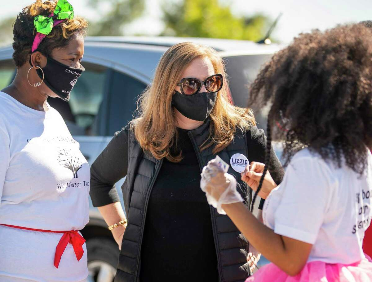 Democratic U.S. Representative Lizzie Pannill Fletcher at a Halloween drive-through giveaway at the Weekly Community Center in Cypress Oct. 31. Fletcher and other Texas Democrats are largely staying quiet on President-elect Joe Biden's climate ambitions, most notably his pledge to halt oil and gas leasing in federal lands and waters, including the Gulf of Mexico.