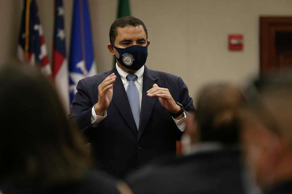U.S. Rep. Henry Cuellar, D-Laredo, meets with county officials in Zapata on Nov. 12. Cuellar said while he supports climate action, he has been reaching out to the Biden transition officials to try to convince them that a leasing ban would devastate the Gulf Coast economy. .