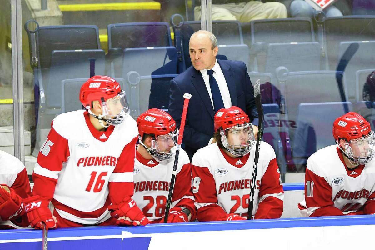 Sacred Heart men's hockey coach C.J.Marottolo