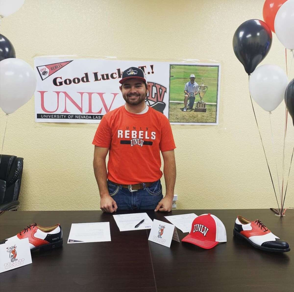 Midland College sophomore JT Pittman poses after signing a letter-of-intent to play golf at UNLV.
