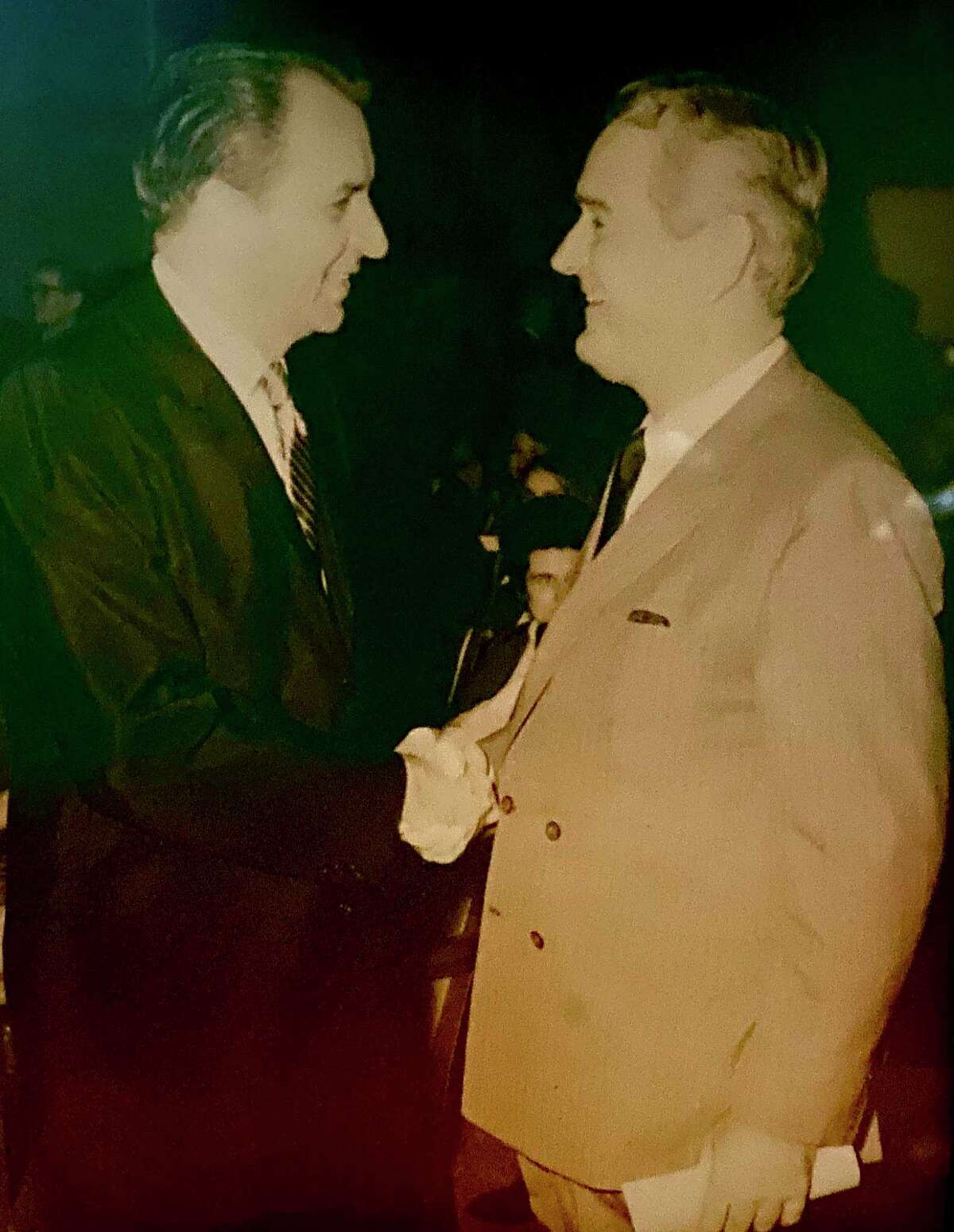 Thomas Morrow Reavley with Gov. John Connally in Austin, date unknown. In 1964, Connally appointed Reavley to the 167th District Court of Travis County.