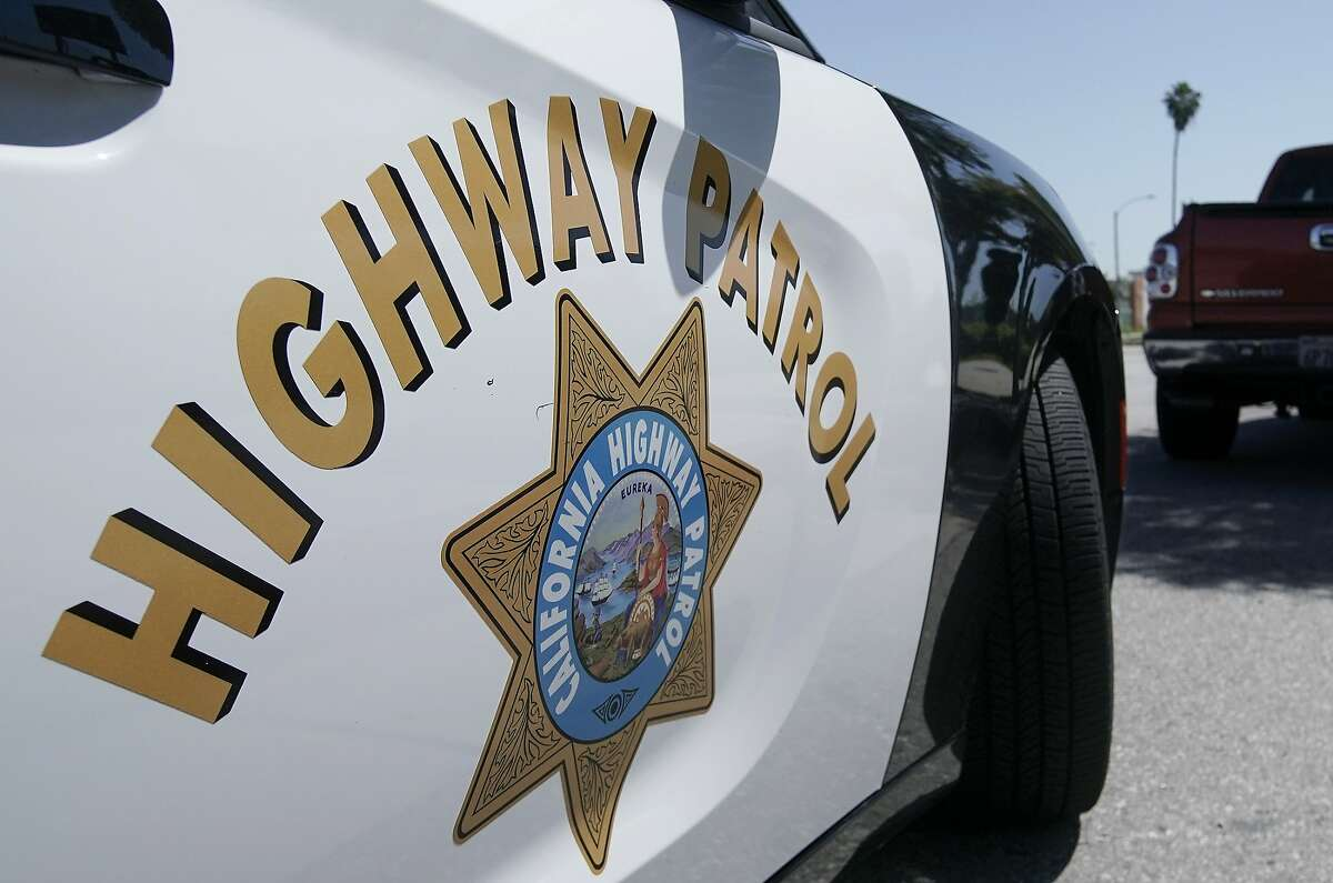 A California Highway Patrol car. A man suspected of driving under the influence was killed Tuesday night after he struck a vehicle driven by a San Mateo sheriff's deputy while fleeing authorities.