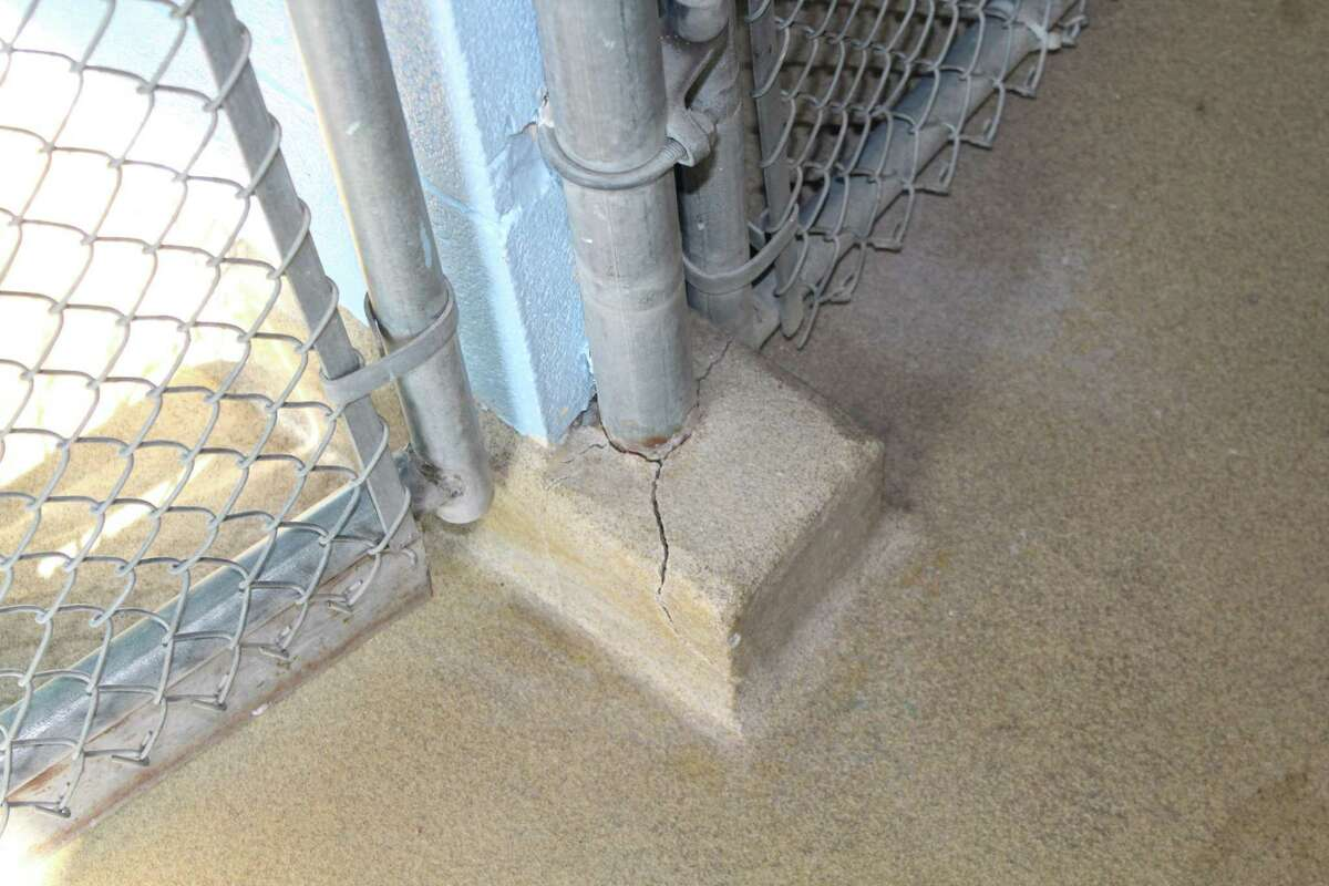 One crack in the foundation of New Canaan's Animal Control facility, where animals are temporarily sheltered and Animal Control officers spend part of their time on duty.
