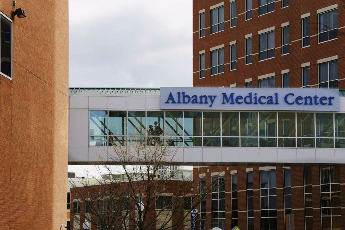 A view of Albany Med, one day after the sidewalks outside the hospital were filled with nurses taking part in a one-day strike, on Wednesday, Dec. 2, 2020, in Albany, N.Y. (Paul Buckowski/Times Union)