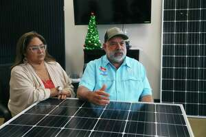 Melissa Gonzales, 53, and her husband, Chuck Gonzales, 63, talk about their company, Solar Electric Texas. The couple run the business along with their sons and his brother. The company sells residential and commercial solar panel systems and their installation. They also provide monitoring and repair of solar power systems.