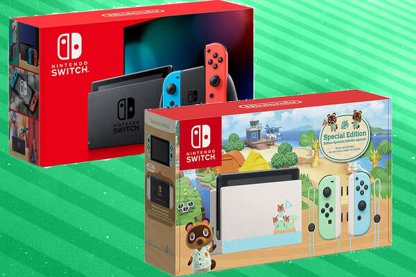 Nintendo Switch, Neon Blue and Neon Red Joy-Con and Animal Crossings: New Horizons