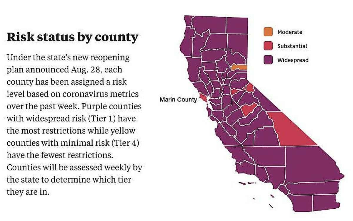 California's coronavirus reopening tier map as of Dec. 2, 2020.