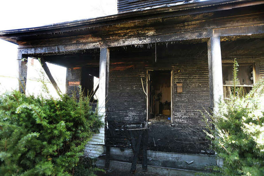 Fire badly charred the front of a house just before 3 a.m. Wednesday in the 2000 block of Alby Street in Alton. killing the house's 85-year-old male resident. The house was fully involved with flames shooting out windows and doors on the front side when Alton firefighters arrived. Godfrey firefighters were called to the scene to assist Alton.