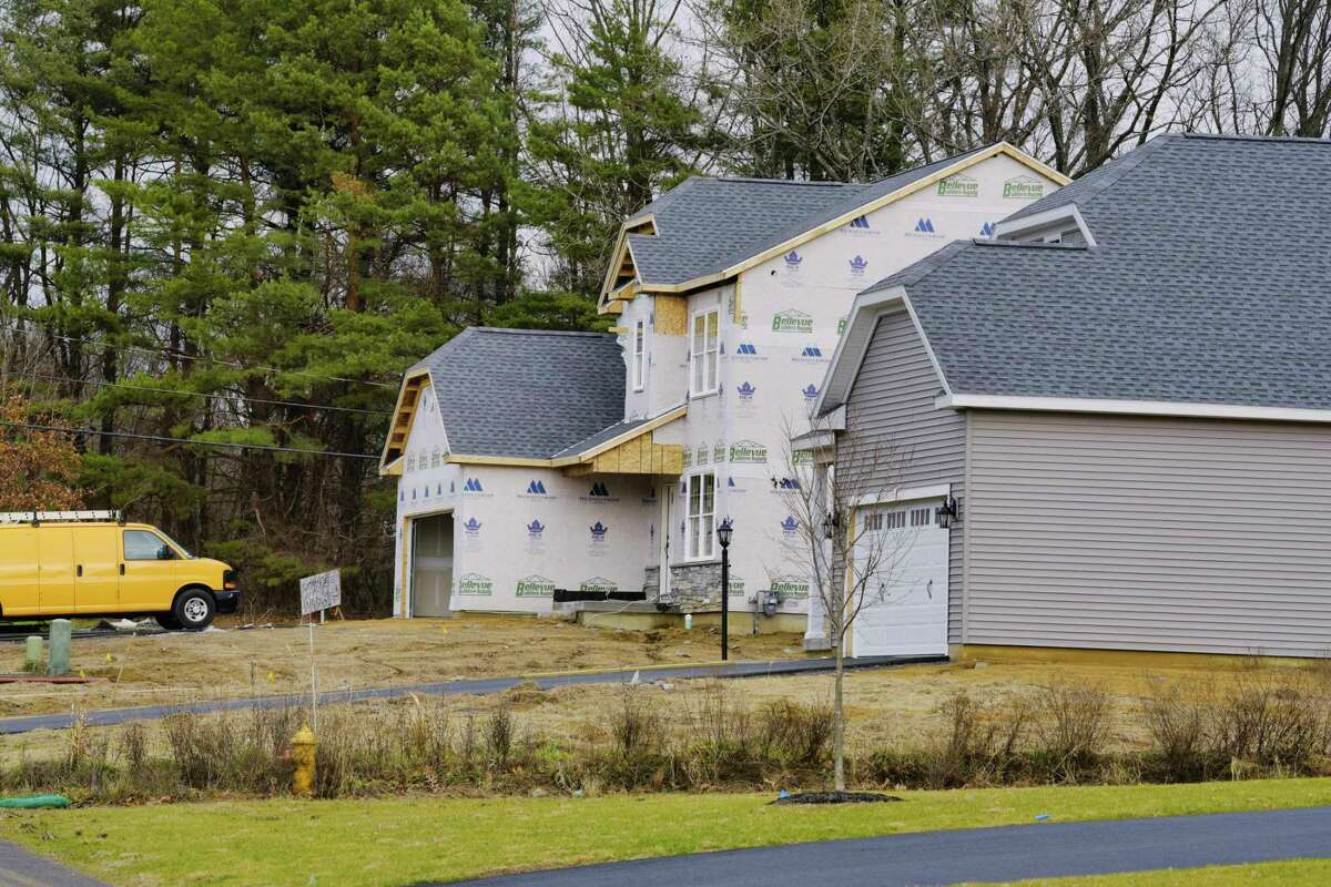 A view of a home being built on Madeleine Lane on Wednesday, Dec. 2, 2020, in Glenmont, N.Y. (Paul Buckowski/Times Union)