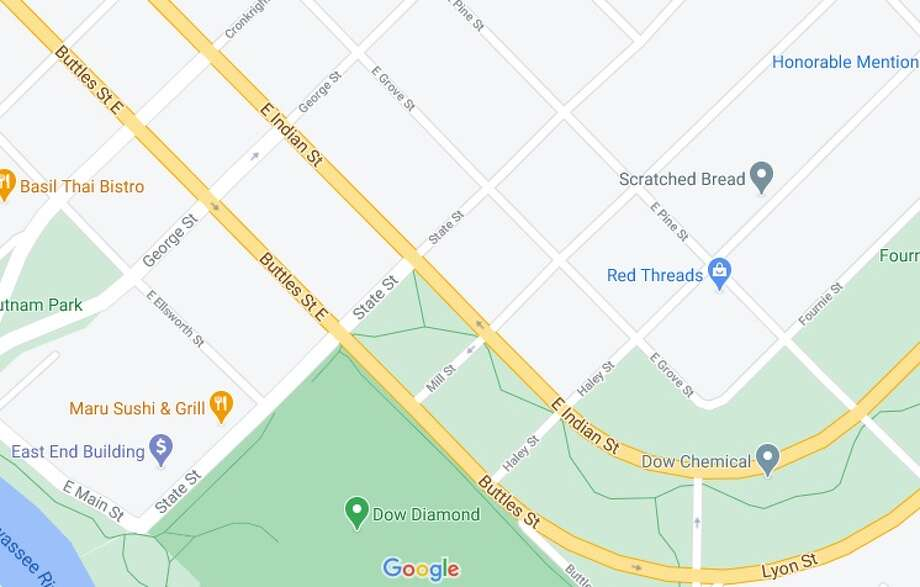 One lane of Indian Street will be closed between George and Mill streets in Midland for a water main repair. (Screen photo/Google Maps) Photo: Screen Photo