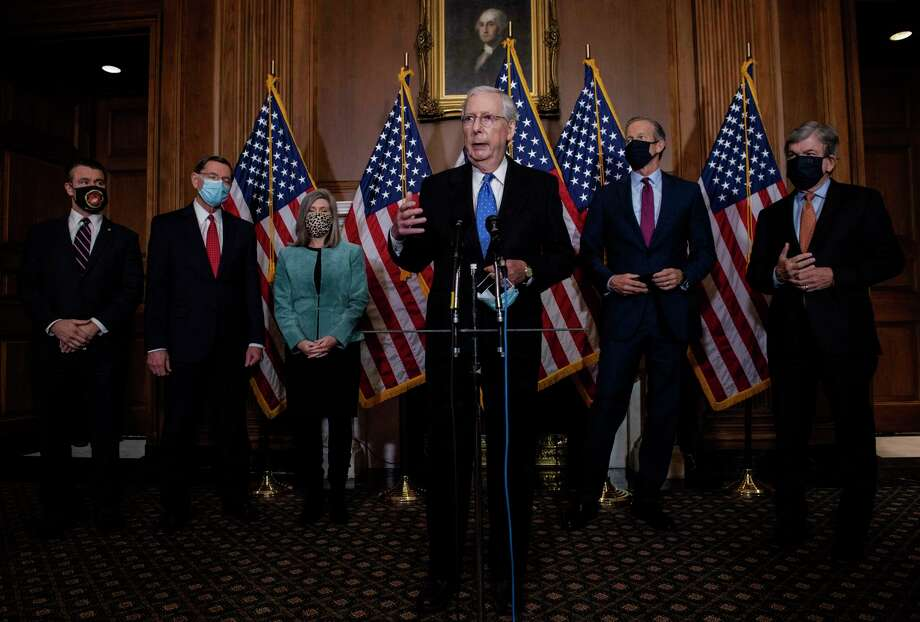 Senate Majority Leader Mitch McConnell, R-Ky., and other Republican leaders hold a news conference at the Capitol on Tuesday, Dec. 1, 2020. Photo: Washington Post Photo By Bill O'Leary / The Washington Post