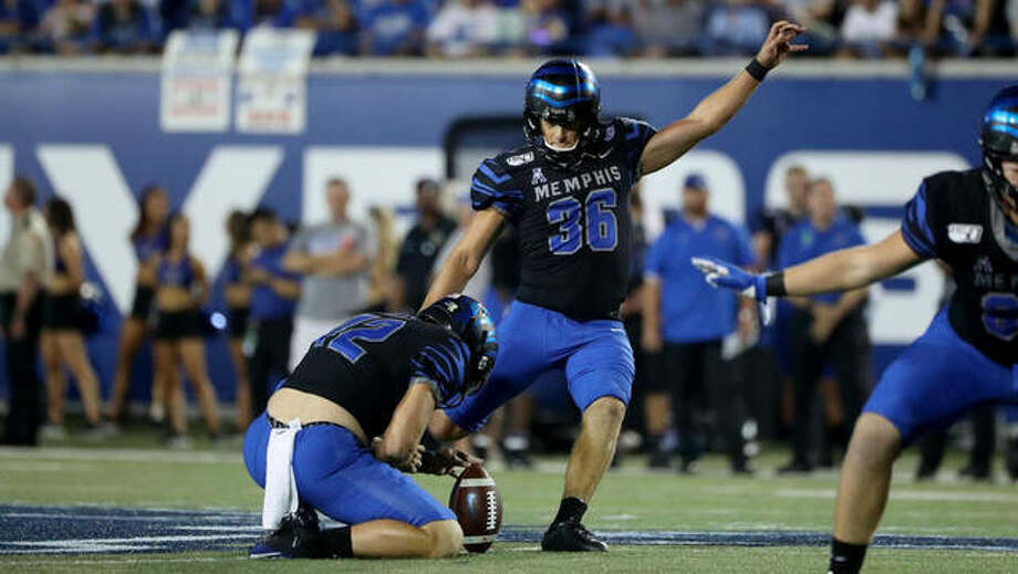 Memphis kicker Riley Patterson attempts a field goal during a game last season against Navy. An EHS grad, Patterson is in his his senior season. Photo: Memphis Athletics