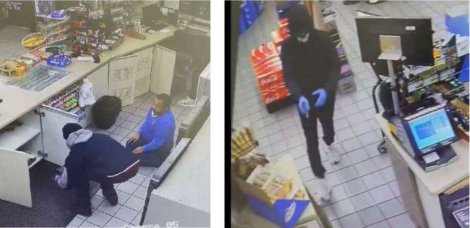 A Chevron gas station in Porter snapped images in its surveillance video of two individuals in October as they allegedly held up a store clerk at gunpoint. Photo: Courtesy Of The Montgomery County Sheriff's Office