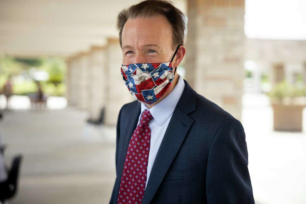 Dr. Heath Morrison, the new superintendent of Montgomery ISD, wears a face mask at Montgomery Junior High School in Montgomery, August 6, 2020. Before Dr. Morrison accepted the position to become superintendent of Montgomery ISD he was the former Charlotte-Mecklenburg School superintendent before going into the private sector.