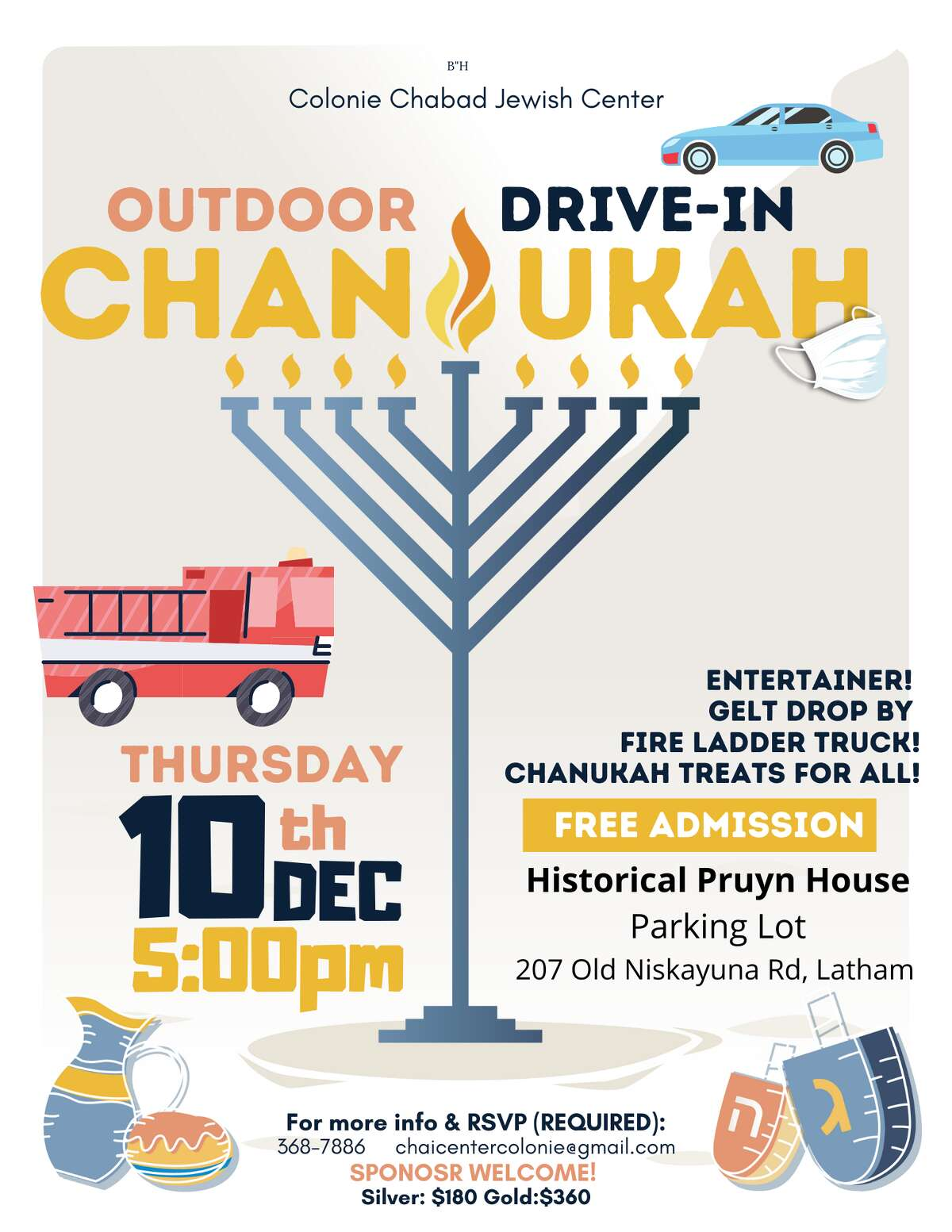 Rabbi Mordechai Rubin of the Colonie Chabad has planned creative, joyful Hanukkah celebrations that the public can join including a car parade with a huge firetruck delivering gelt (chocolate coins wrapped in gold foil).