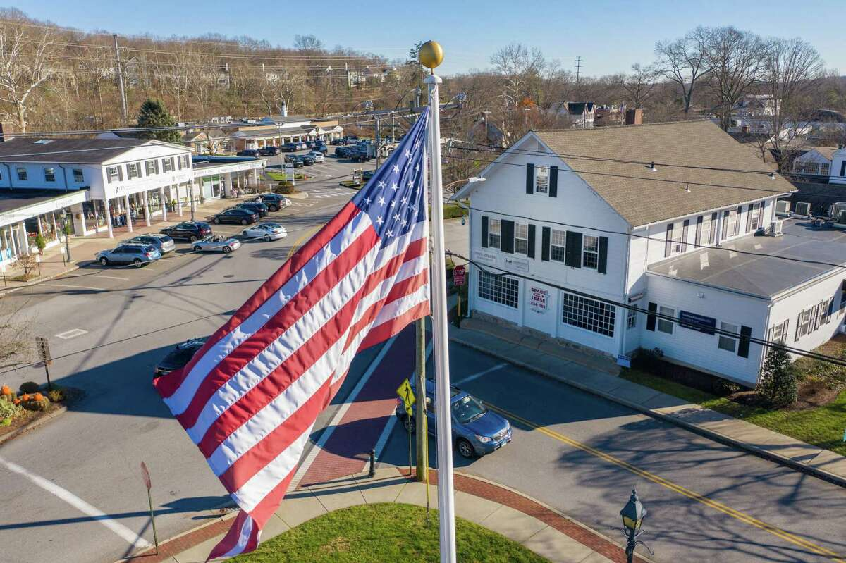 An aerial view of Wilton Center on Nov. 28. The Planning and Zoning voted unanimously to seek funding from the town over several years to develop a comprehensive master plan centered on the town's commercial areas.