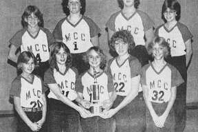 On this day 40 years ago, This group of Manistee Catholic Central seventh and eighth grade girls basketball players took second place at the Bobcat Invitational. Front row left to right are Jean Kaminski, Karen Mantych, co-captain Pam Gregorski, co-captain Chris Krusniak an Jodi Miller. Back row left to right are Amy Rhodea, Yvonne Guzikowski, Lisa Adamski and Sue Baker. (Manistee County Historical Museum photo)
