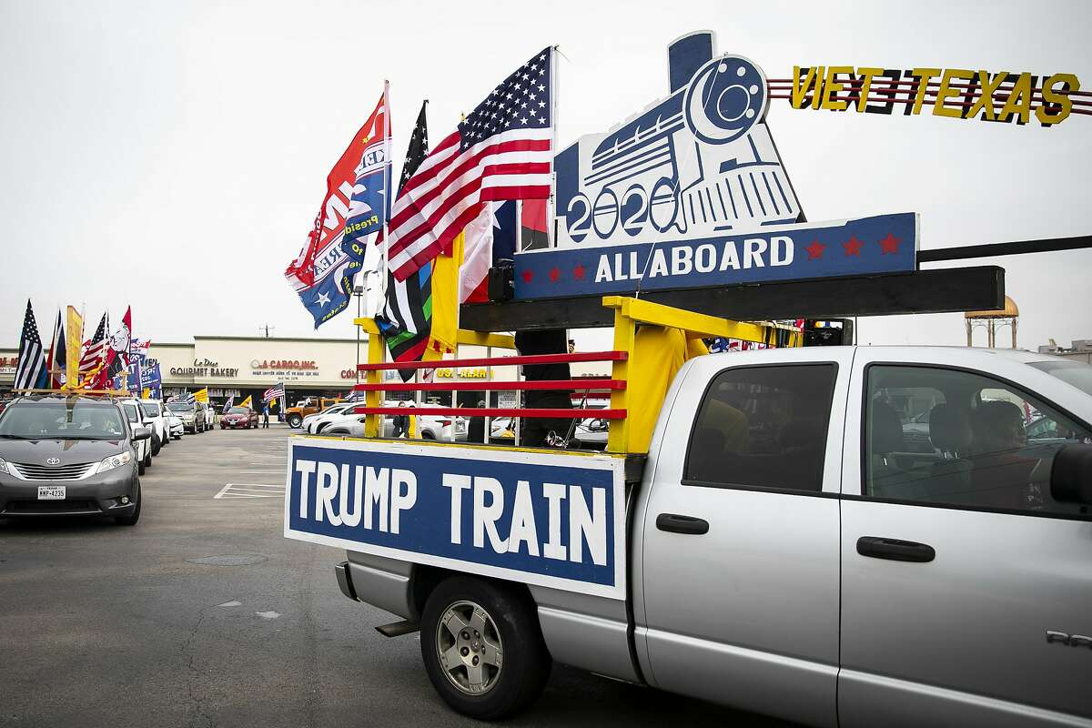 Donald Trump supporters gather at the Dakao Plaza for a Trump Train Rally on Sunday, Oct. 25, 2020.