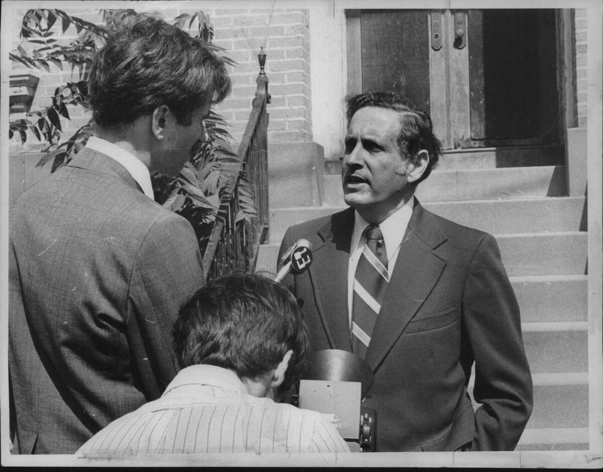 Harold Rubin, photographed on July 3, 1978 at Chestnut and South Swan streets in Albany, when he was speaking on behalf of the Coalition for Effective Code Enforcement, one of the organizations he helped to found that would morph into the Council of Albany Neighborhood Associations. (Bud Hewig/Times Union Archive)