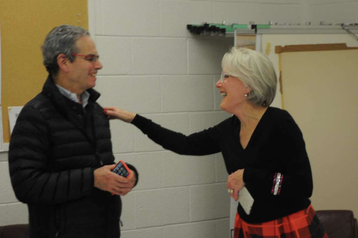 VIce Chairman Charles Robbins and Chairwoman Rebecca Mucchetti were re-elected as the leaders of Ridgefield's Planning and Zoning Commission on Tuesday night. They're shown after being elected to those roles in 2019.