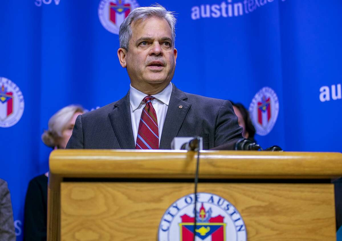 FILE - In this March 6, 2020, file photo, Austin Mayor Steve Adler speaks during a news conference in Austin. Adler took a vacation to Mexico with family in November at a time when he was urging people to
