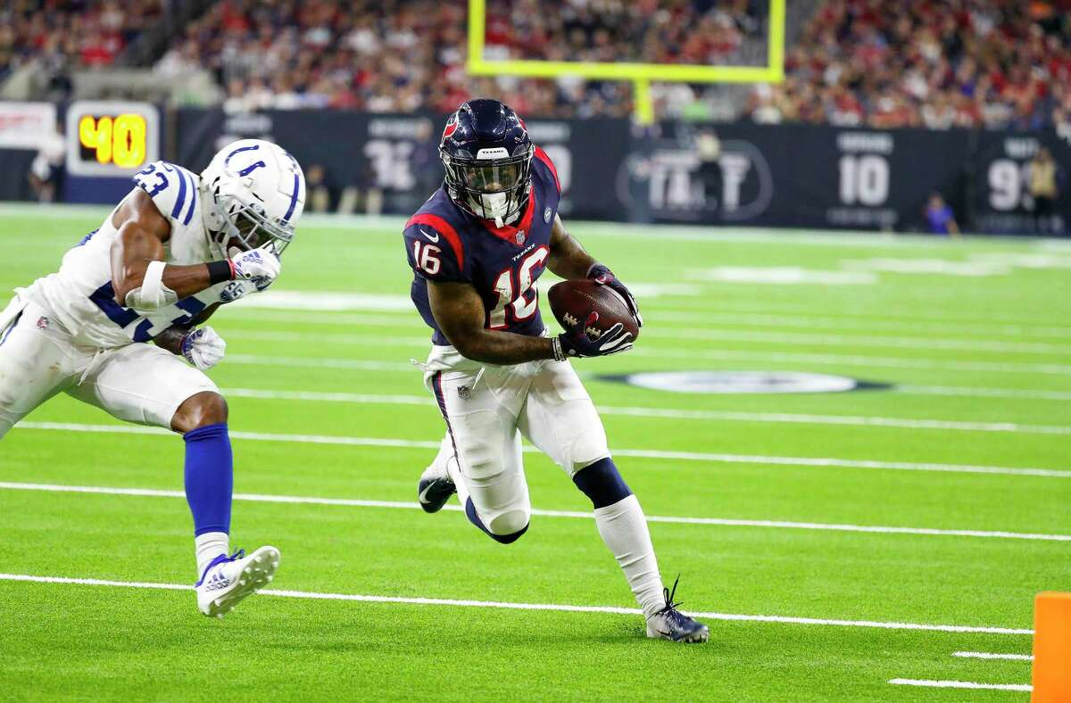Texans receiver Keke Coutee, scoring against the Colts in a playoff in 2019, has a history of success against Indianapolis.
