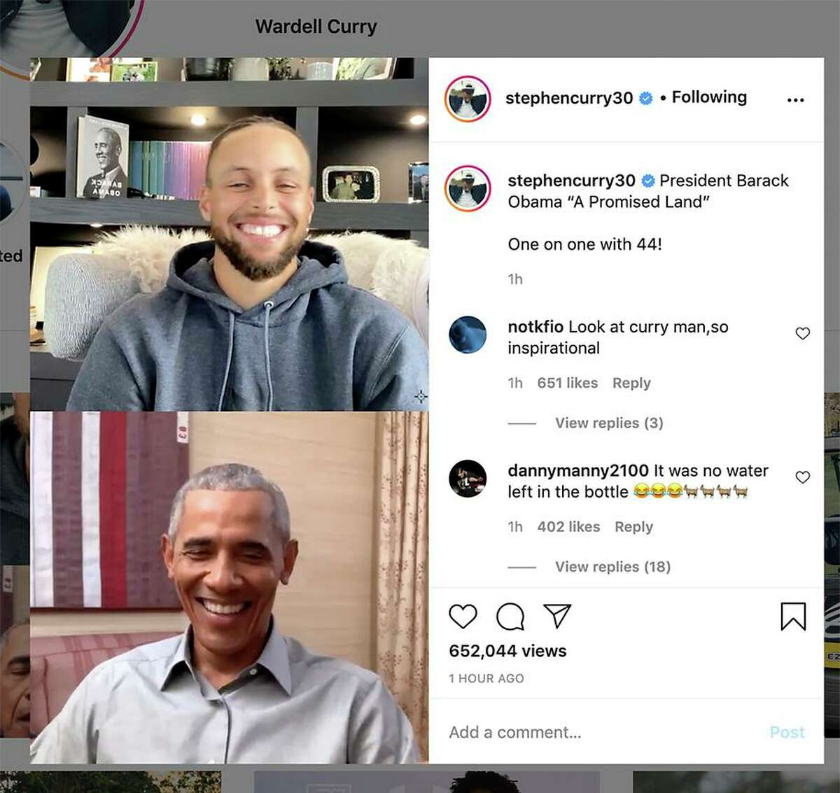 """A screenshot from Golden State Warriors Guard Stephen Curry's Instagram account during an interview between Curry and President Barack Obama where they discussed Obama's new memoir """"A Promised Land"""" on Wednesday, December 2, 2020."""