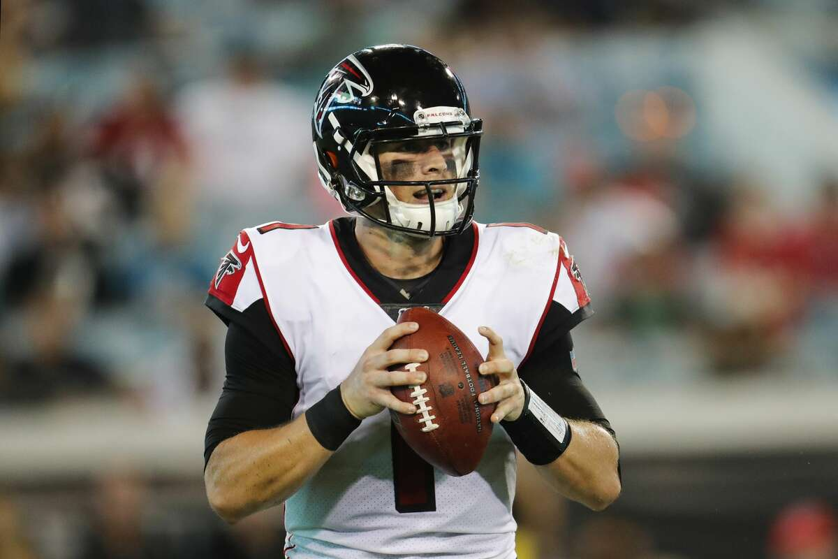 JACKSONVILLE, FLORIDA - AUGUST 29: Danny Etling #1 of the Atlanta Falcons in action during a preseason game against the Jacksonville Jaguars at TIAA Bank Field on August 29, 2019 in Jacksonville, Florida. (Photo by James Gilbert/Getty Images)