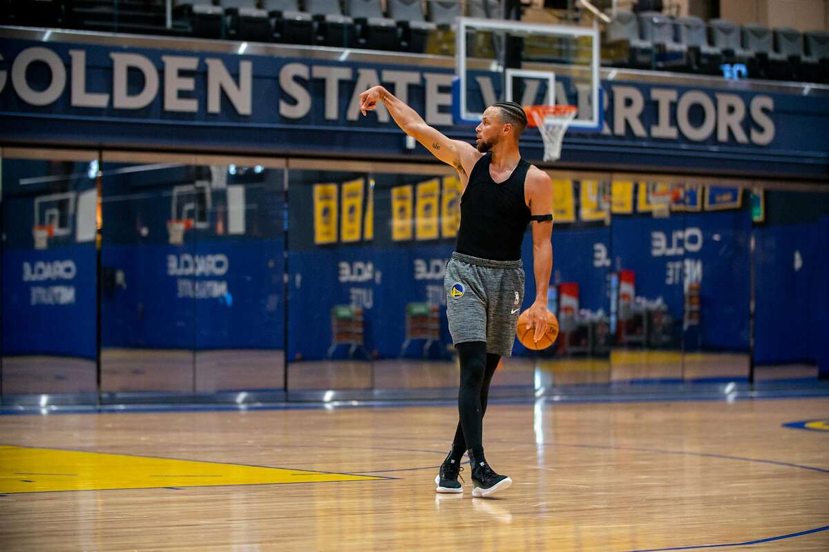 Warriors Guard Stephen Curry takes the court on the first day of training camp at the Chase Center practice facility on Wednesday.