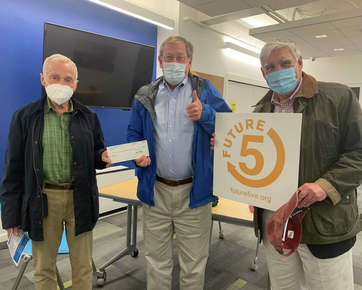 The John and Ethel Kashulon Foundation recently donated 10,000 to the Stamford-based not for profit organization Future 5. New Canaan resident Christopher Wright is the Chairman of its Board of Directors. Pictured left to right are: Martin McLaughlin, Kashulon's president and director, Clif McFeely, the founder of Future 5 and a longtime New Canaan resident, and Chris Le Bris, a Kashulon Associate.
