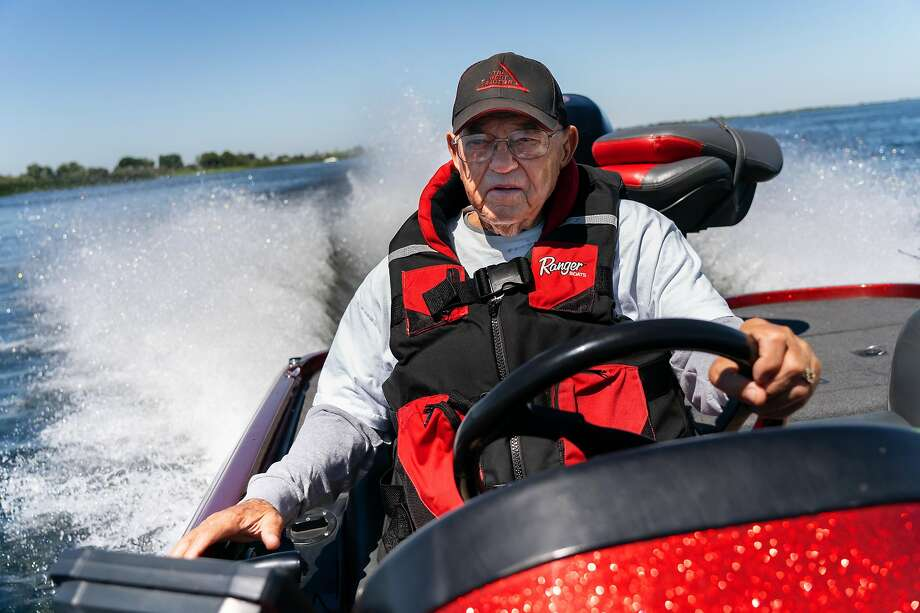 Bass Fishing Hall of Fame inductee Dee Thomas, 84, a Brentwood resident and fixture at delta bass tournaments, drives his bass boat at Franks Tract off Bethel Island last year. Photo: Paul Kuroda / Special To The Chronicle 2019